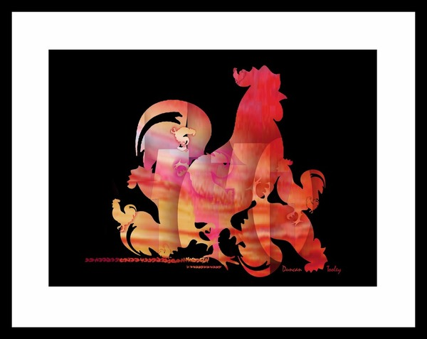 Fractal Binary Rooster Print