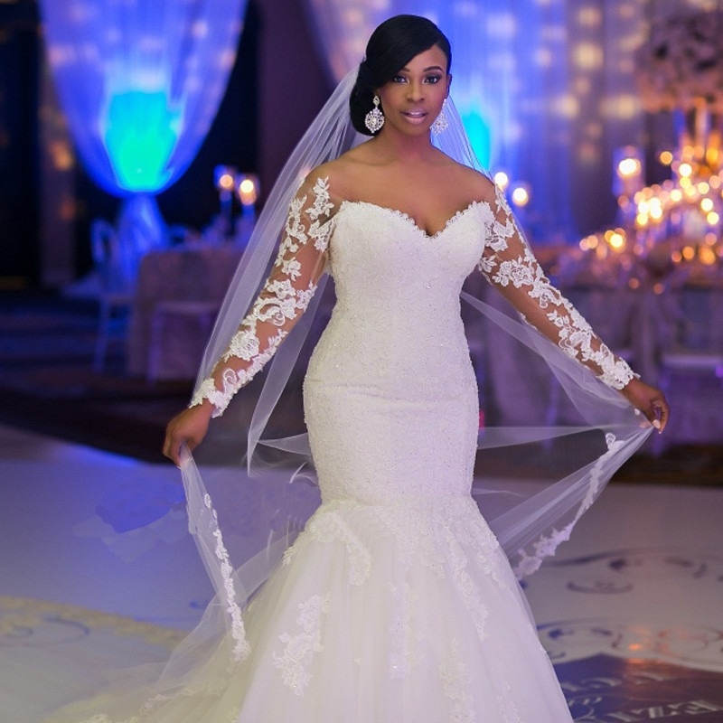 African Style Long Lace Sleeves Wedding Gown Mermaid Dress - Born To ...