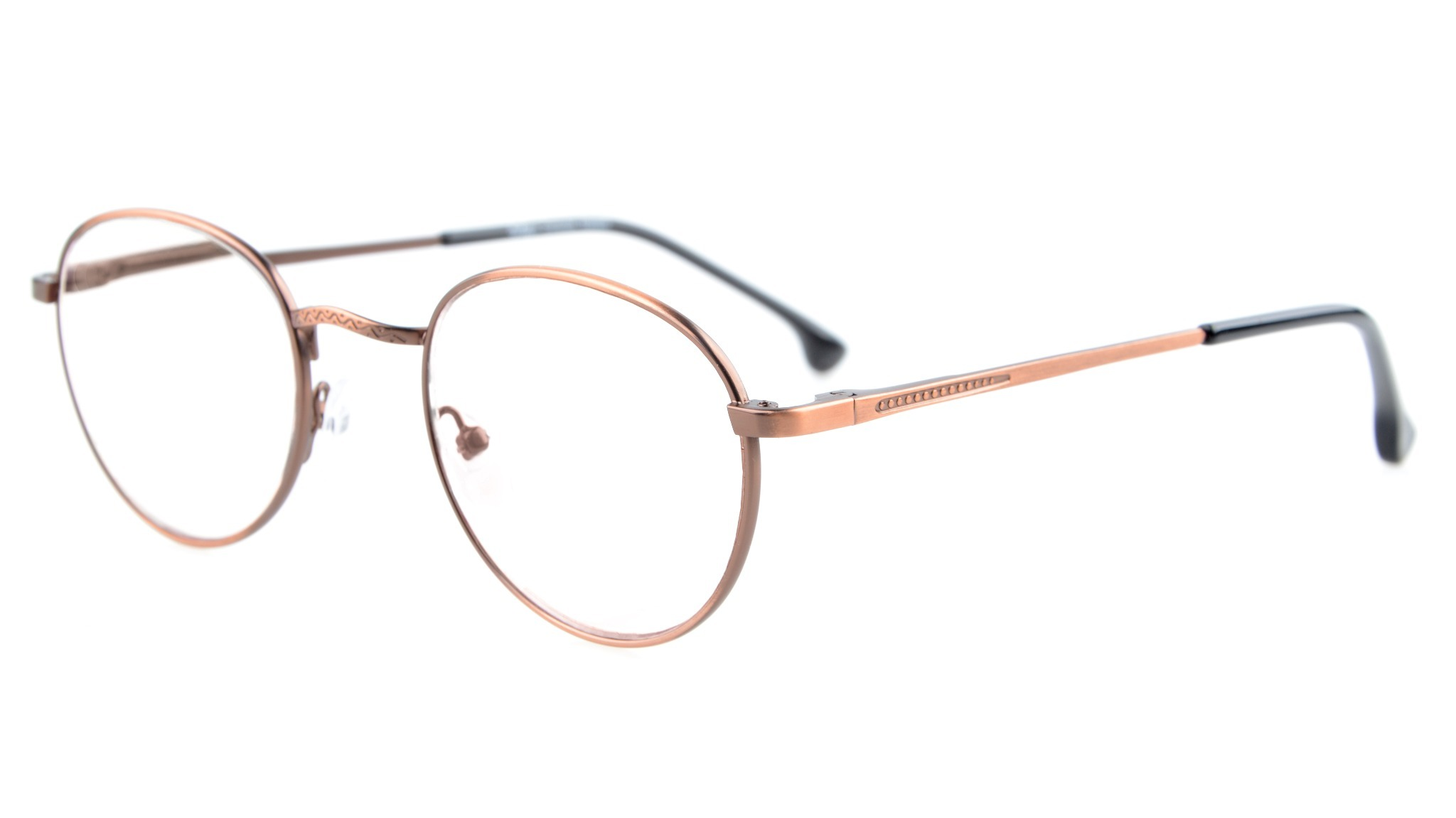 Eyekepper Oval Round Quality Spring Hinges Glasses Eyeglasses Frame R1620-Anti Bronze-0.0