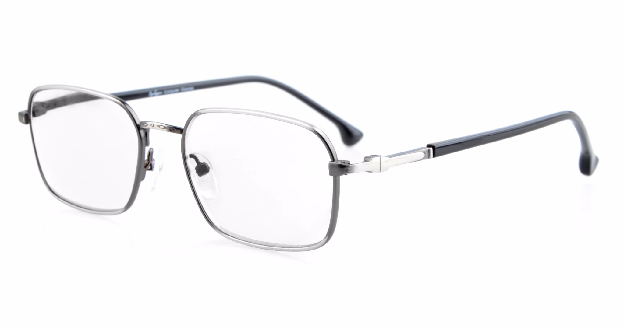 Eyekepper Retro Spring Hinges Glasses Eyeglasses Frame R1617-Anti Silver-0.0