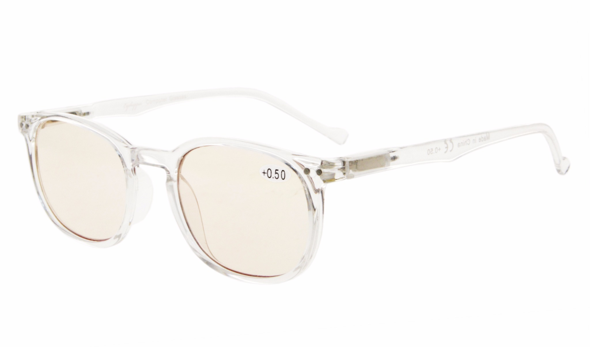 f8e5681eb419 Eyekepper Spring Hinge Classic Retro Style Computer Reading Glasses Amber  Tinted Lens CG065-Clear