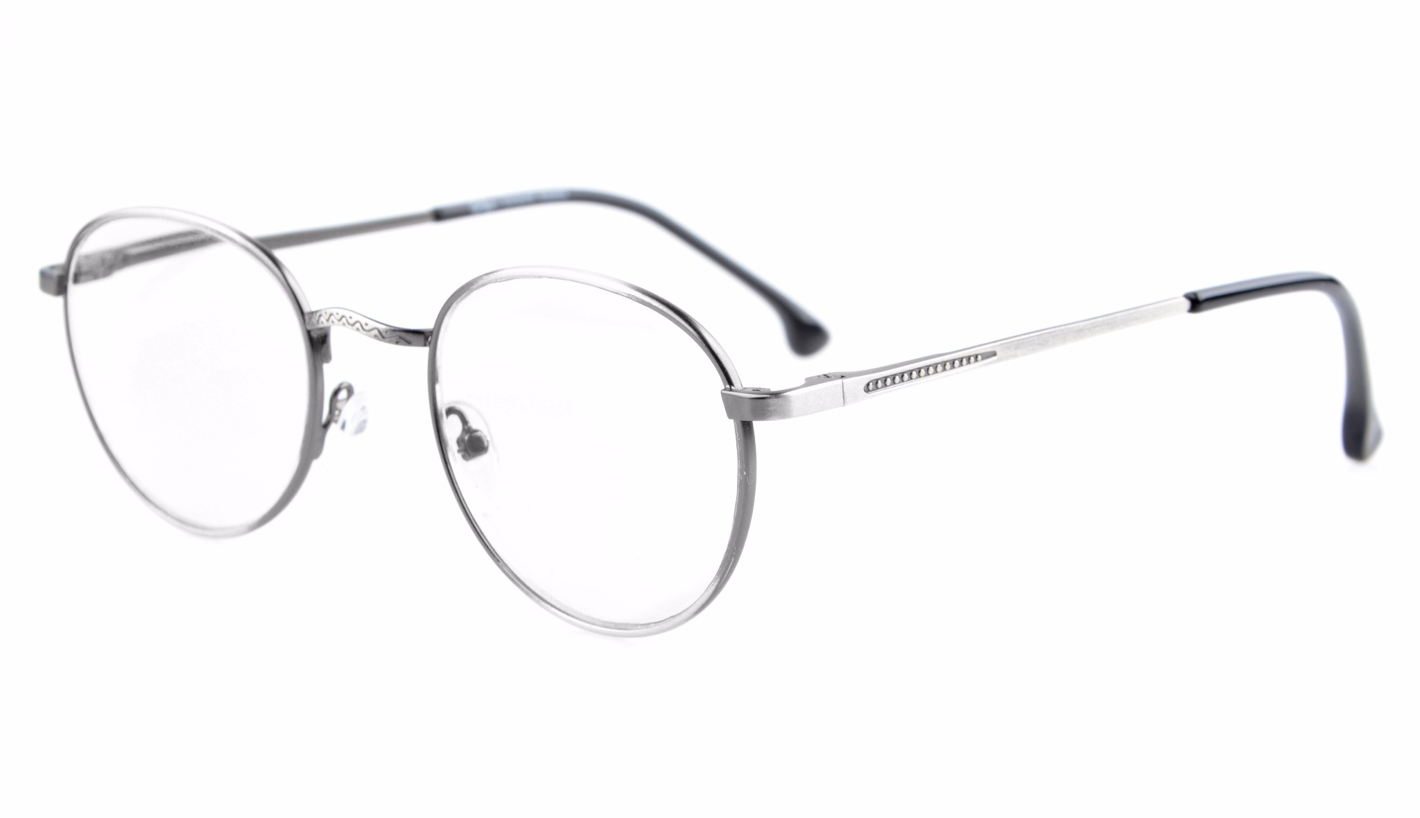 Eyekepper Oval Round Quality Spring Hinges Glasses Eyeglasses Frame R1620-Anti Silver-0.0