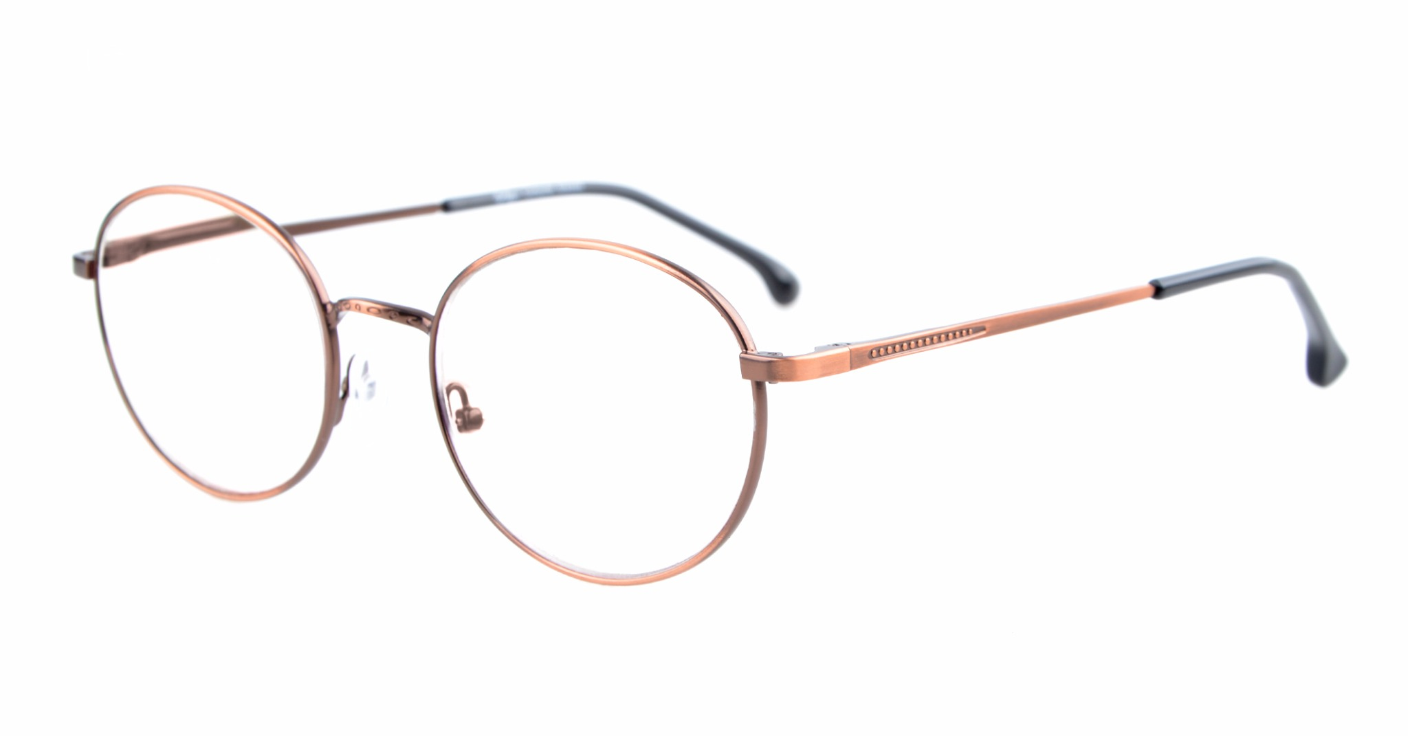 Eyekepper Quality Spring Temples Oval Round Glasses Eyeglasses Frame R1616-Anti Bronze-0.0