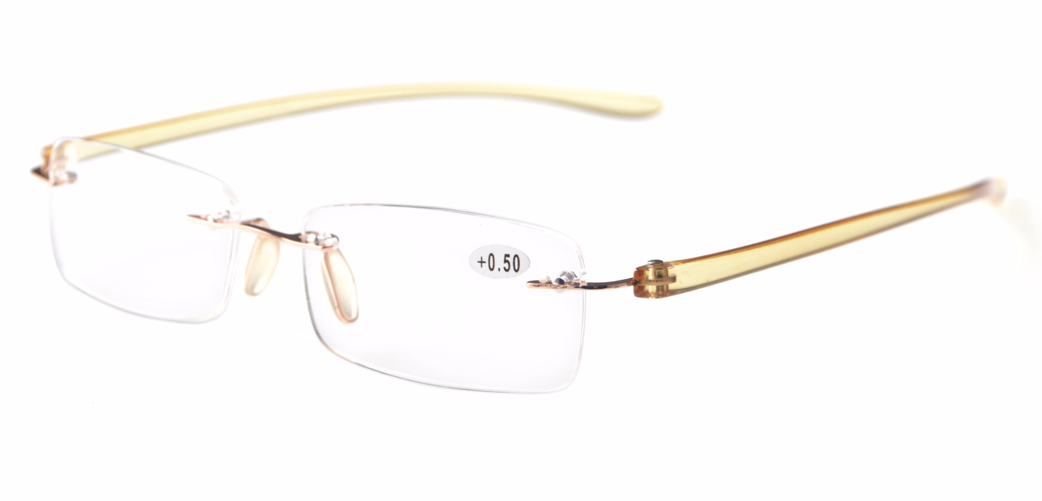 bbc0c1fd974a Readers Small Lenes Rimless Reading Glasses Yellow Arm R14001-Yellow Arm
