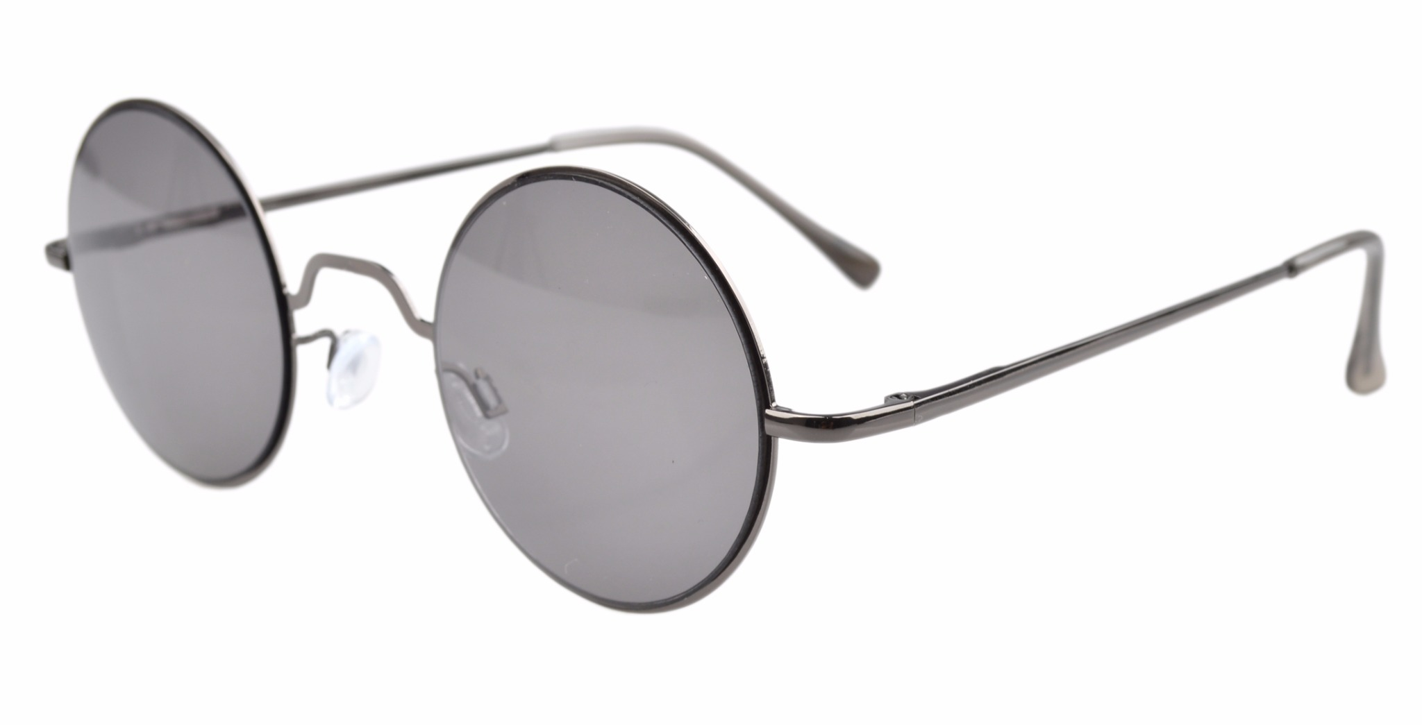 Eyekepper Spring Hinges Round Sunglasses R1503-Grey lens-0.0