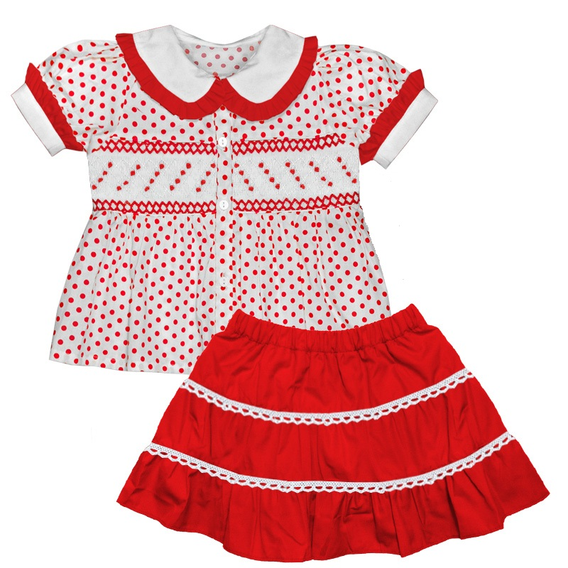 29a4f684d Aurora Royal Red Corduroy Skirt & Hand Smocked Blouse Set - Good For Babies
