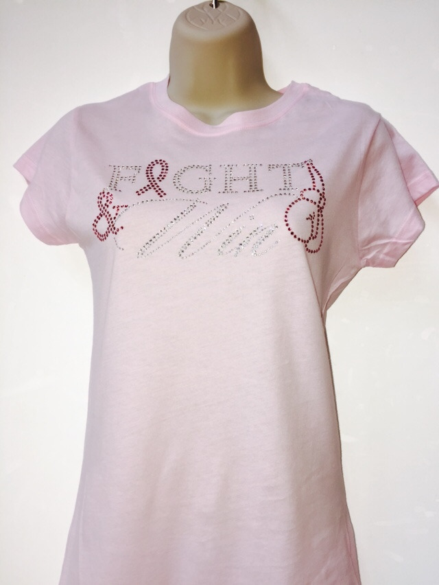 Fight & Win Rhinestone T-Shirt - Light Pink